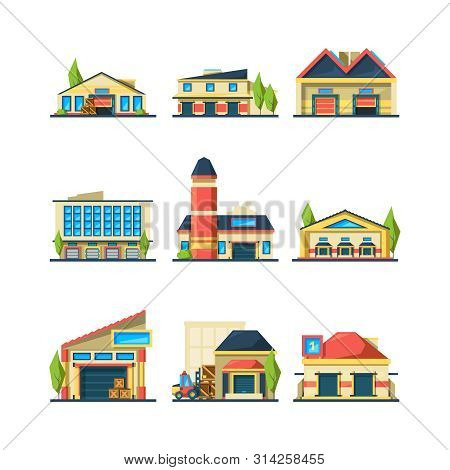 Warehouse. Flat Facade Buildings Of Store Or Factory Warehouse Exterior House Vector Illustrations.