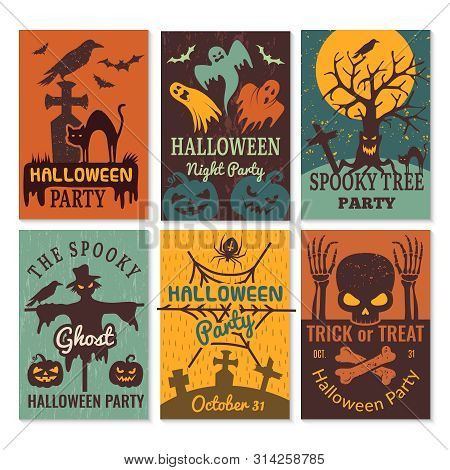 Halloween Cards. Greeting Cards Invitation To Horror Scary Evil Halloween Party Vector Design Templa
