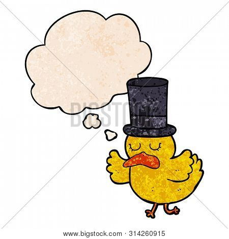 cartoon duck wearing top hat with thought bubble in grunge texture style