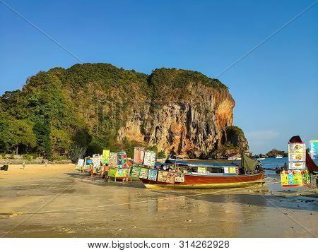 Thailand, Krabi Aonang Beach- February 19, 2019:  Floating Food Market. Fast Food Boats On The Beach