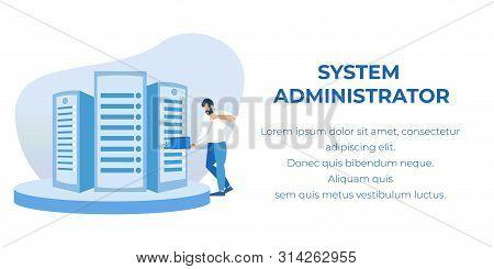 Vector Man System Administrator Cartoon Character Servicing Server Racks Illustration. Computer Syst