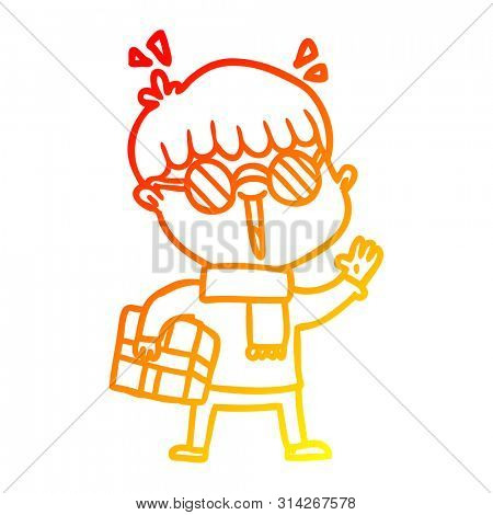 warm gradient line drawing of a cartoon boy with parcel waving