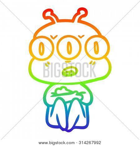 rainbow gradient line drawing of a cartoon three eyed alien