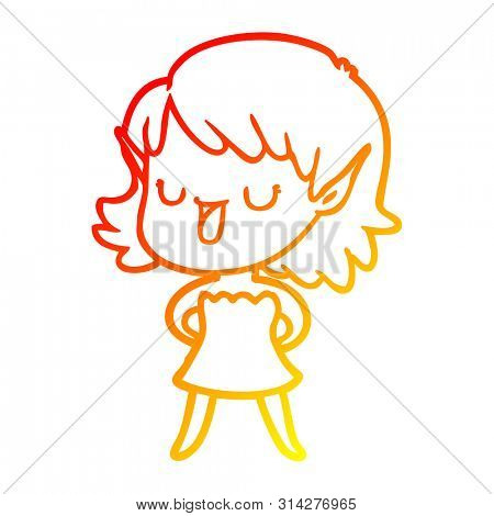 warm gradient line drawing of a cartoon elf girl