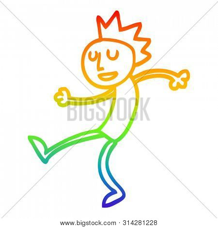 rainbow gradient line drawing of a cartoon dancing man
