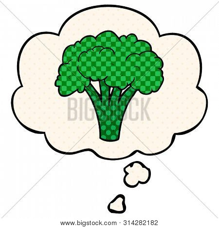 cartoon brocoli with thought bubble in comic book style