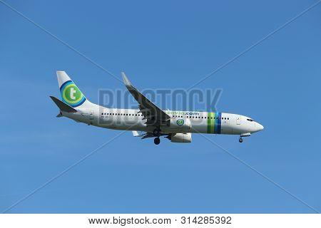 Amsterdam The Netherlands - October 5th, 2018: Ph-hsg Transavia Boeing 737-800 Approaching Schiphol