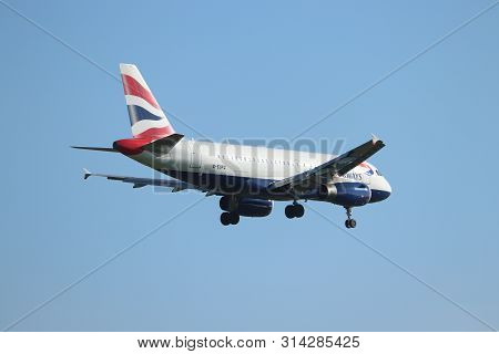 Amsterdam The Netherlands - October 5th, 2018: G-eupg British Airways Airbus A319-100 Approaching Sc