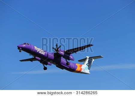 Amsterdam The Netherlands - May 24th, 2019: G-prpn Flybe De Havilland Canada Dhc-8-400  Takeoff From
