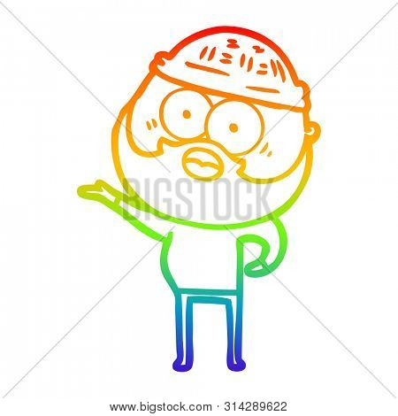 rainbow gradient line drawing of a cartoon surprised bearded man