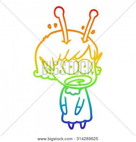 rainbow gradient line drawing of a cartoon shocked alien girl