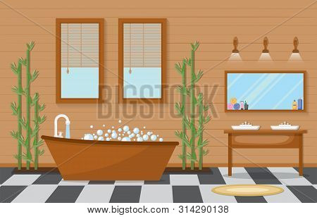 Japanese Bathroom Residential Traditional Style Wood Accent Interior Illustration