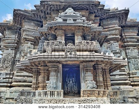 BELUR, KARNATAKA, INDIA - OCTOBER 31 : The Chennakeshava temple which is a Hoysala architecture dated 12th century with impressive stone carvings captured on October 31, 2018 in Belur,Karnataka India