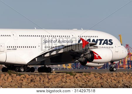 Sydney, Australia - October 10, 2013: Qantas Airbus A380 Large Four Engined Passenger Aircraft At Sy