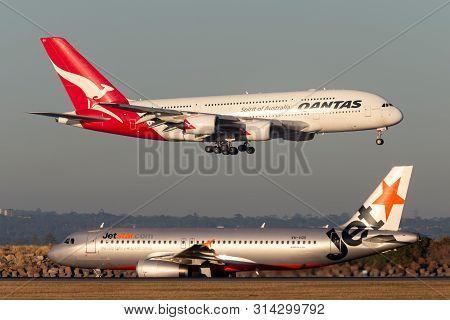 Sydney, Australia - October 9, 2013: Qantas Airbus A380 Large Four Engined Passenger Aircraft Landin