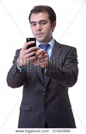 business man taking photo with cellphone