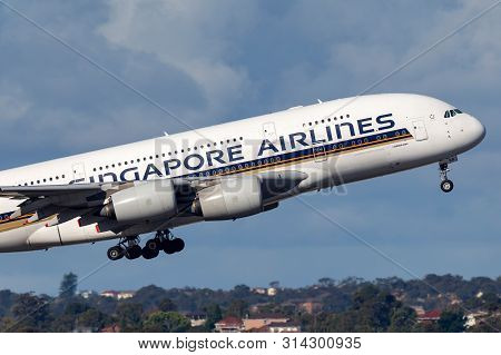 Sydney, Australia - October 8, 2013: Singapore Airlines Airbus A380 Large Four Engined Passenger Air