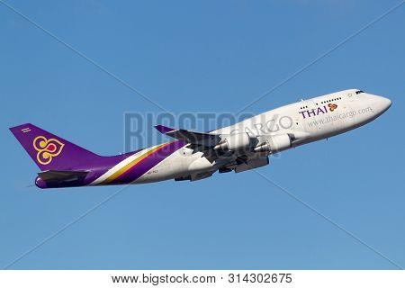 Sydney, Australia - October 8, 2013: Thai Cargo Airways International Boeing 747 Cargo Aircraft Depa
