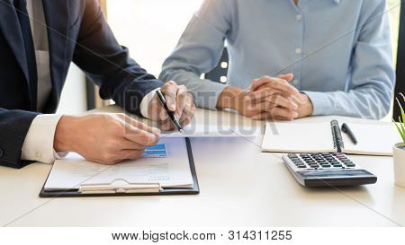 Wealth Management Concept, Business Man And Team Analyzing Financial Statement For Planning Financia