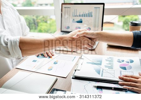 Business Handshake After Agreement Meeting Or Negotiation Finishing Up Dealing Project, Partnership