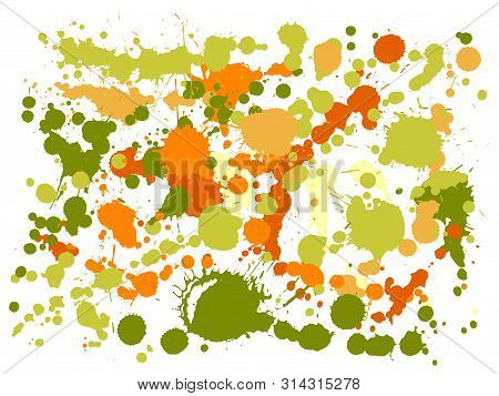 Watercolor Paint Stains Grunge Background Vector. Decorative Ink Splatter, Spray Blots, Dirty Spot E