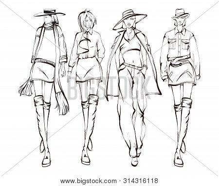 Beautiful Young Womens. Hand Drawn Fashion Girls. Fashion Model Posing. Sketch. Vector Illustration