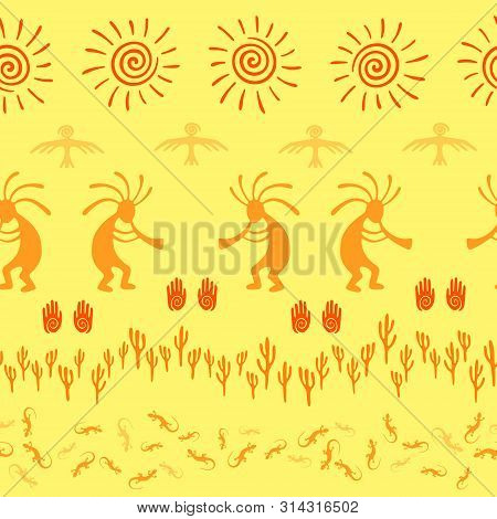 Southwestern native american vector ethnic tribal motifs seamless pattern. Traditional design with humpbacked man playing flute musical instrument. Authentic aboriginal textile print. poster