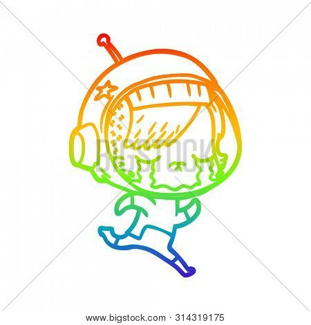 rainbow gradient line drawing of a cartoon crying astronaut girl