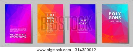 Facet Triangles Vivid Brochure Covers Vector Graphic Design Set. Crystal Texture Polygonal Patterns.