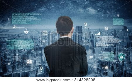 Futuristic Augmented Reality Online Data And Cyberspace, Businessman Looking At The City With Futuri