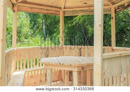 Wood Products, Bower. Carpentry Skill. Camping, A Shelter For Tourists. New Arbor, Gazebo Made Of Wo