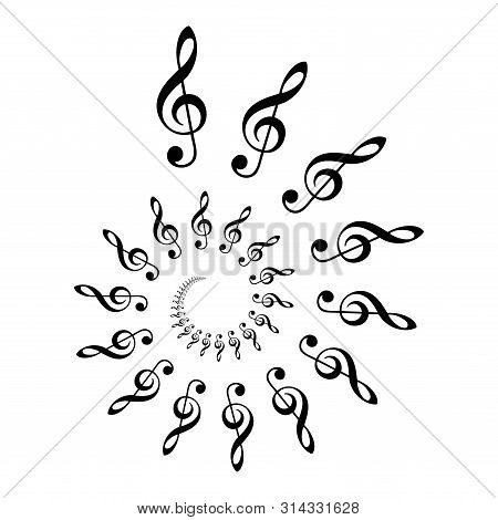 Treble Clef Spiral. Archimedean Spiral Made Of  The Most Common Musical Symbol G-clef. Two Turnings