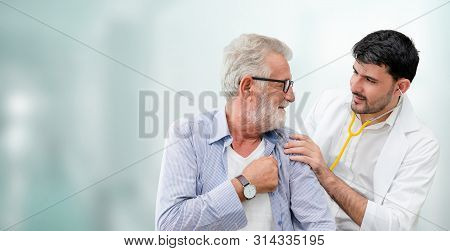 Doctor Checking Patient Health In Hospital Office.