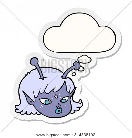 cartoon alien space girl face with thought bubble as a printed sticker