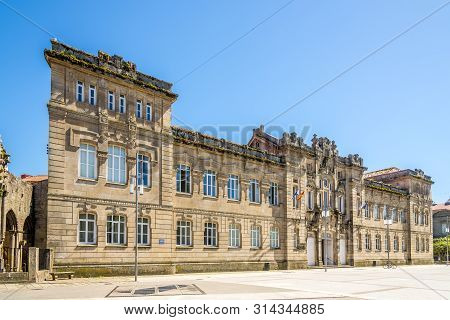 Pontevedra,spain - May 14,2019 - View At The Buiding Of School In Pontevedra. Pontevedra Is A Spanis