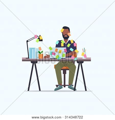 Businessman Covered With Stick Notes Business Planning Deadline Concept African American Office Work
