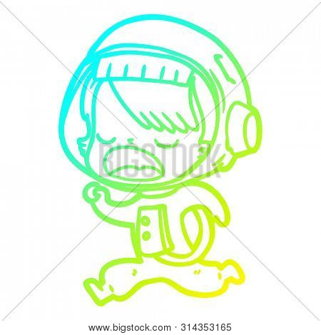 cold gradient line drawing of a cartoon astronaut woman running
