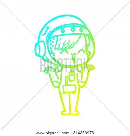 cold gradient line drawing of a happy cartoon space girl shrugging shoulders