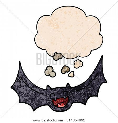 cartoon bat with thought bubble in grunge texture style