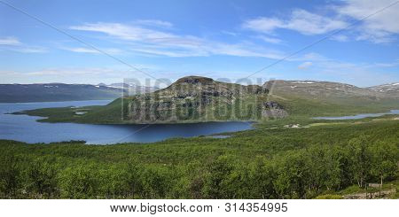 Panoramic View Of Lake Kilpisjarvi And Malla Fells, Seen From Fell Saanatunturi