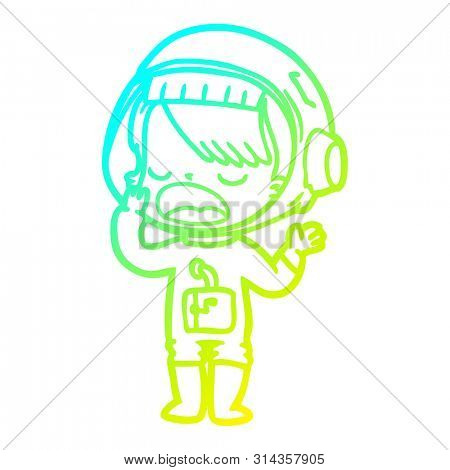 cold gradient line drawing of a cartoon astronaut girl yawning