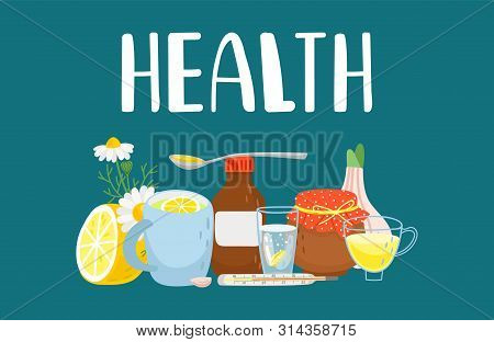 Alternative Treatment. Cold Remedies. Winter Cold And Flu Health Remedy Set. Naturopathy, Herbal The