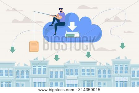 Advertising Poster Document Storage In Cloud. Flat Banner Conceptual Idea Methods And Ways Storing L