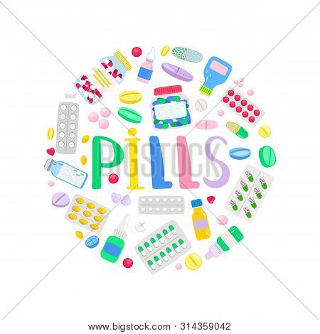 Medicines And Medications. Treatment Pills And Analgesic Tablets. Pharmacy Round Banner, Vector Illu