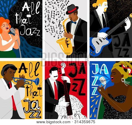 Jazz Music Festival Banners. Studio Mic And Sax, Guitar And Contrabass Live Audio Posters With Music