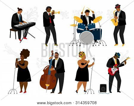 Cartoon Jazz Band Musicians On White. Musical Player With Music Instruments And Singing Women Charac