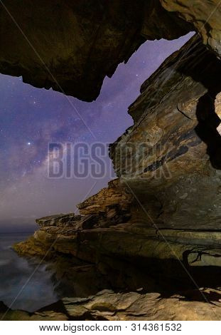 Lined Up The Milky Way And Galactic Core Rising Over The Sydney Sea Coast Down In The Cliffs And Ali
