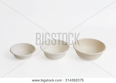 Set Of Unbleached Plant Fiber Food Bowl Isolated On White With Clipping Path, Natural Fiber Eco Food