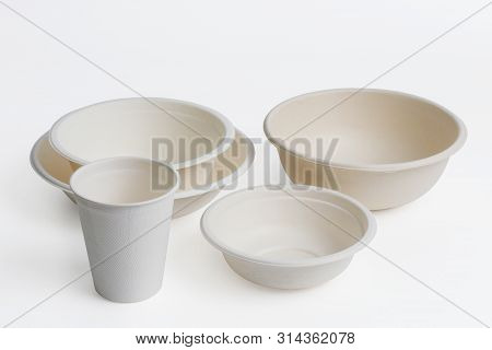 Set Of Unbleached Plant Fiber Food Box Isolated On White With Clipping Path, Natural Fiber Eco Food
