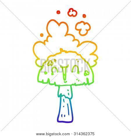 rainbow gradient line drawing of a cartoon mushroom with spoor cloud